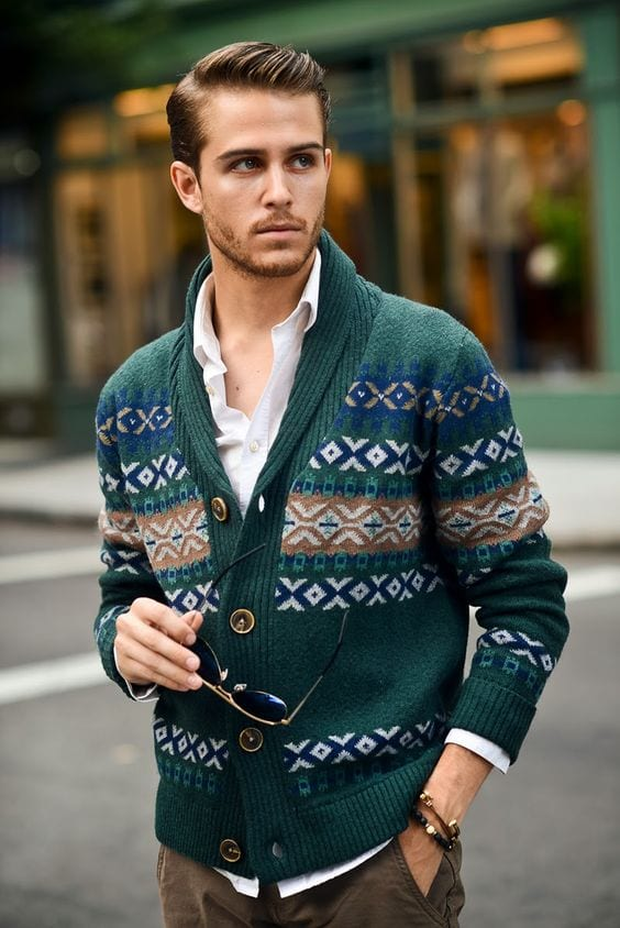 Adam-Gallagher-green-woollen-cardigan