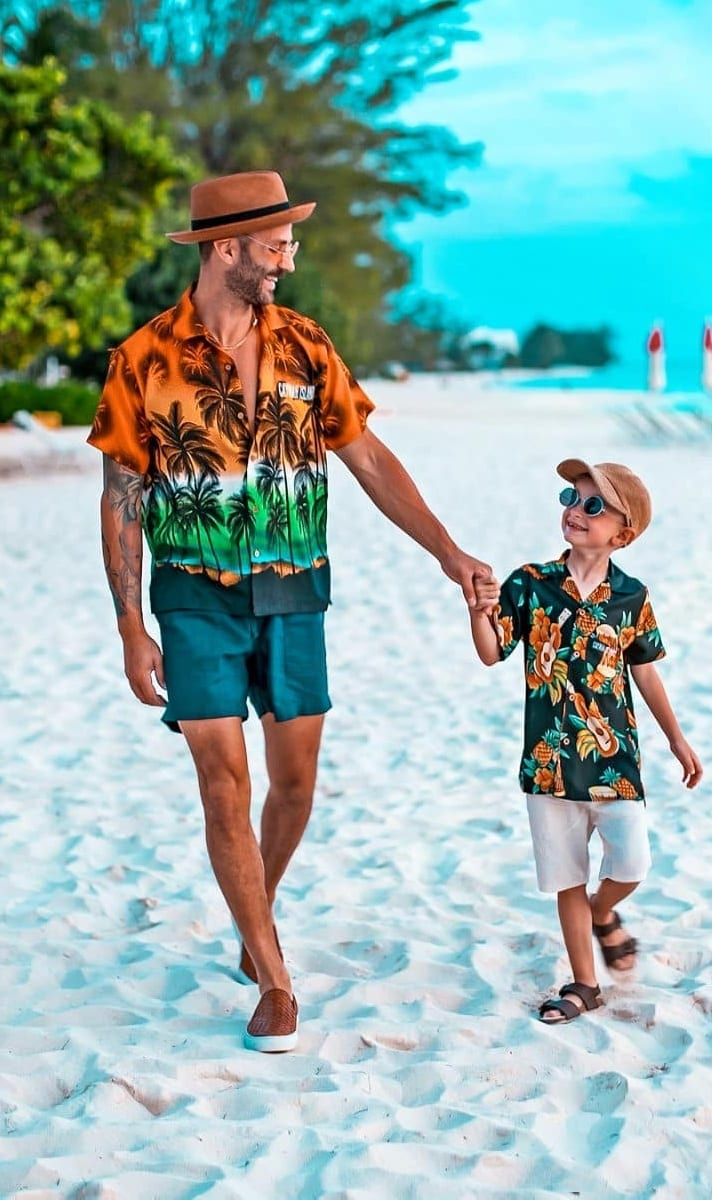 Hawaiian Shirt and Shorts Outfit for Beach Party
