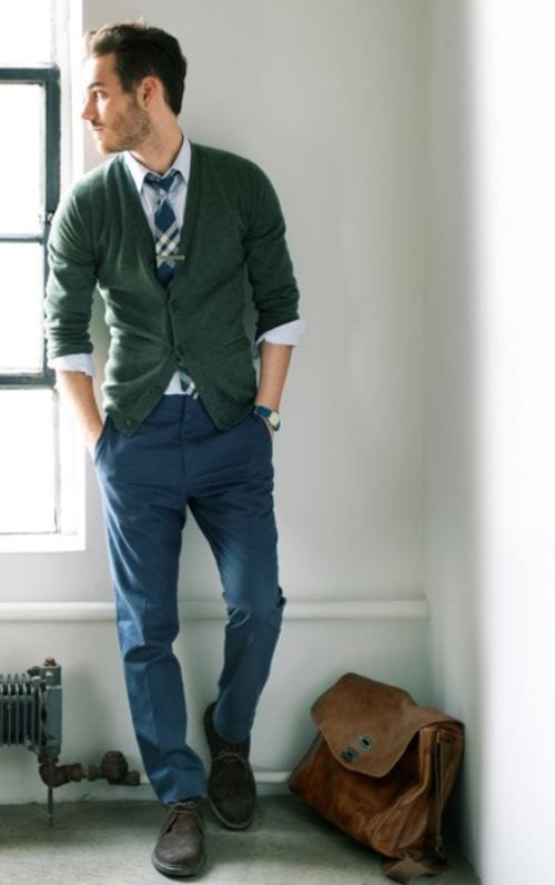 High-School-Outfit-Green-Cardigan-Trouser-1