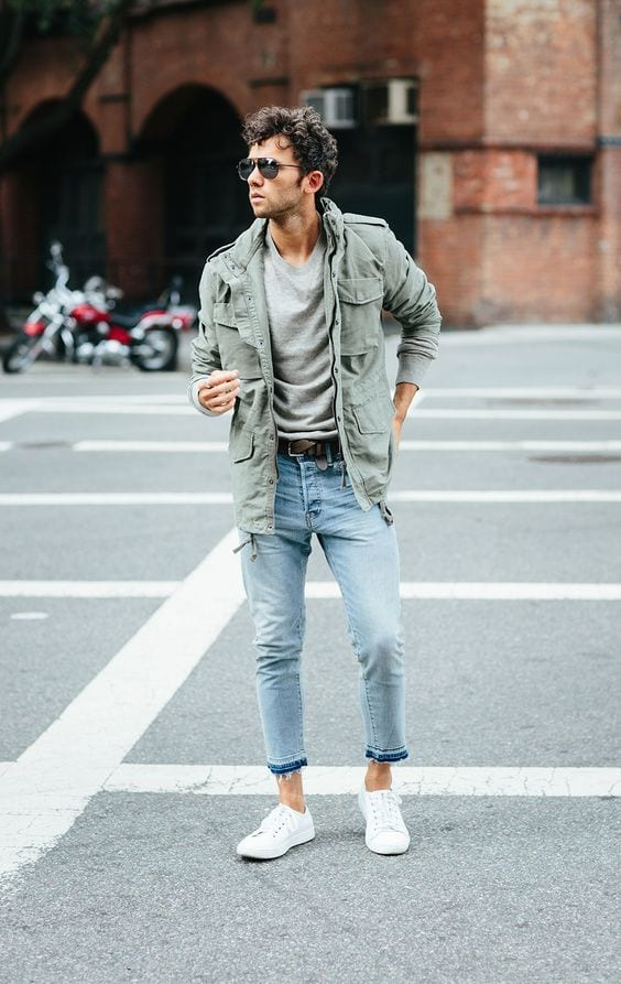 White-Low-Top-Sneakers-styled-with-Fall-Jacket-Grey-T-shirt-and-a-pair-of-Ankle-Lenght-Denim-Jeans-perfect-for-a-weekend-look-1