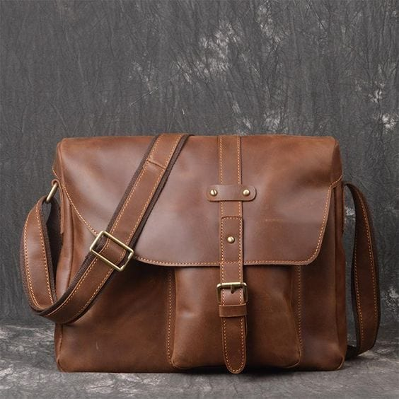 Brown Leather Briefcase Laptop Bag for Men