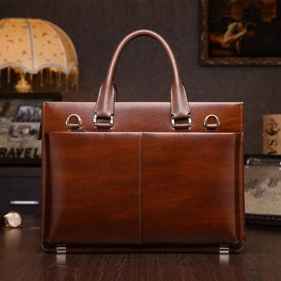 Classic Brown Leather Business Bag for Men