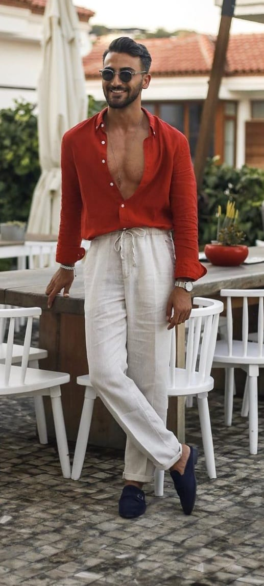 White Trousers and Red Shirt Fashion 2020