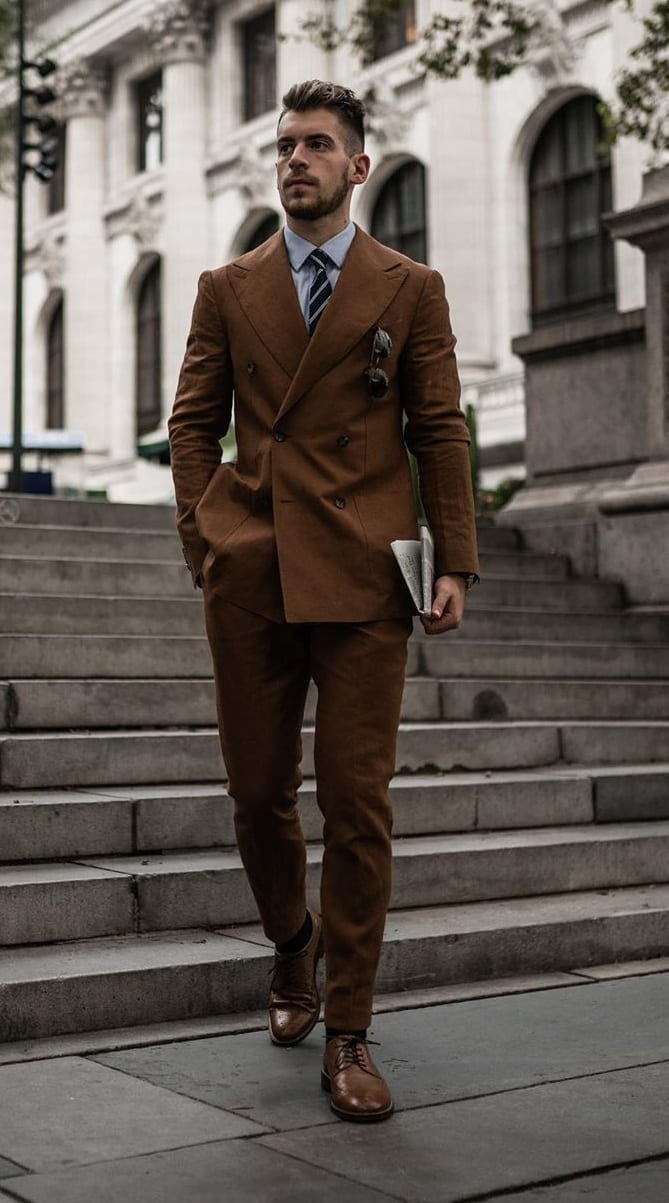 Brown Double Breasted Suit Outfits for March