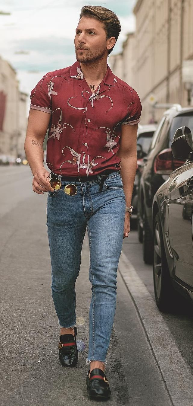 Cuban Collar Shirt- Jeans Outfit ideas