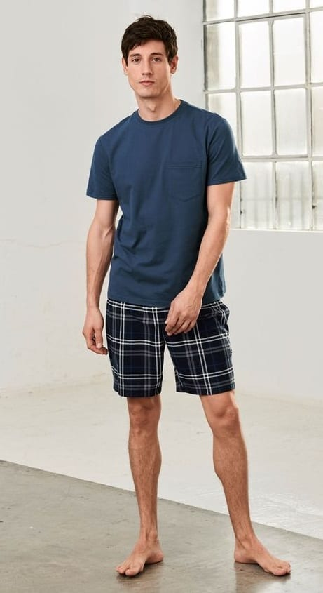 Plain Tee-Checkered Shorts- Cool Loungewear Outfits for Men