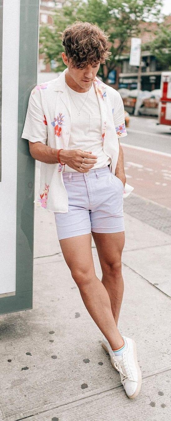 Undershirt- Unbuttoned Shirt-Shorts-Gay Fashion