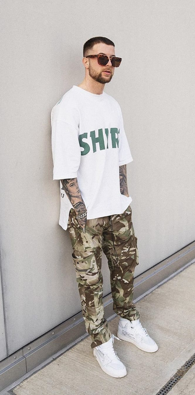 Camouflage Trousers Paired Up with a White T-Shirt