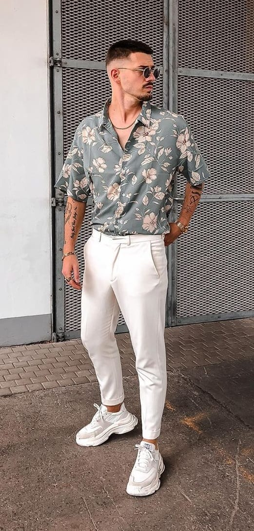 Short Sleeve Shirt - Trousers -Summer Outfits for Men