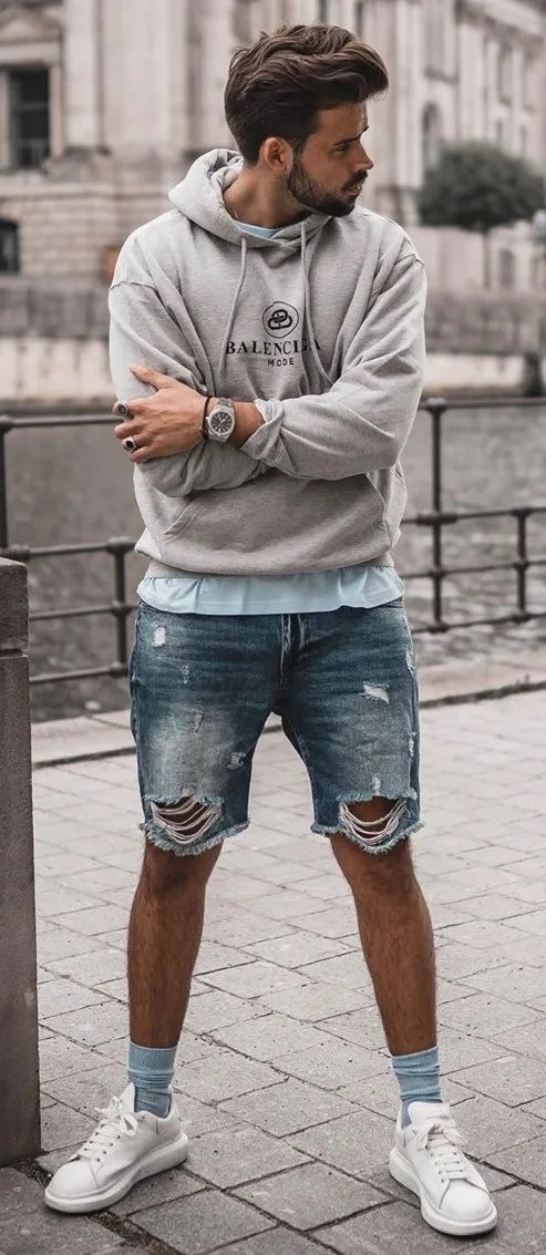 Grey Hoodie and Denim Shorts Outfit