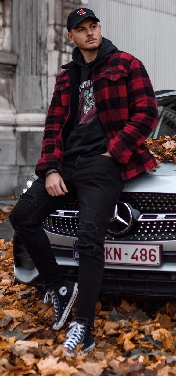 Plaid Jacket- Graphic Tee-Denims-Sneaker Shoes-Cap-Fall-Outfit-For-Men