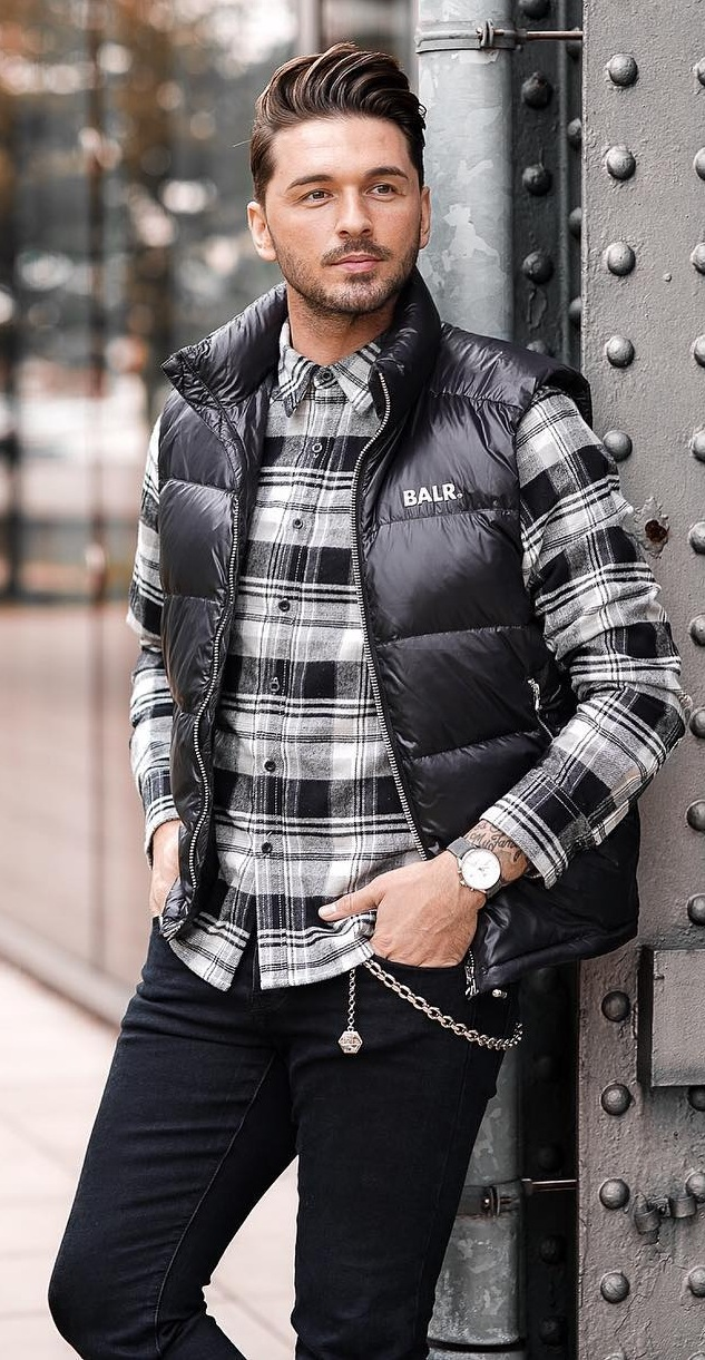 Puffer Jacket+ Black and White Checkered Shirt + Black Pants- Winter Outfit