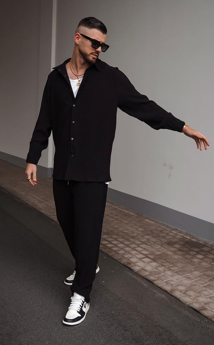 Black Full Sleeves Shirt Paired With Black Baggy Pants