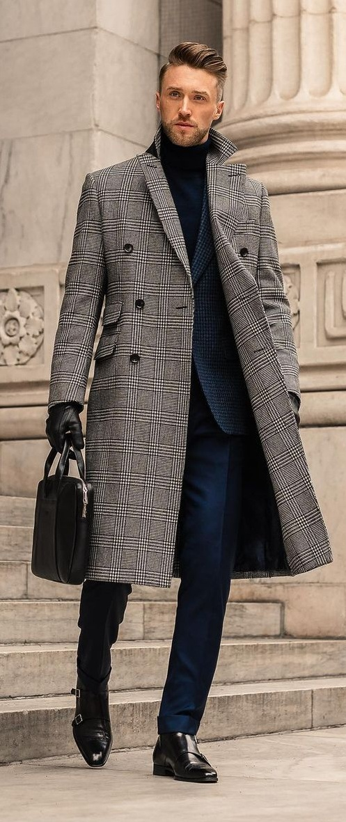Blue Suit With Plaid Coat and gloves outfit idea for men