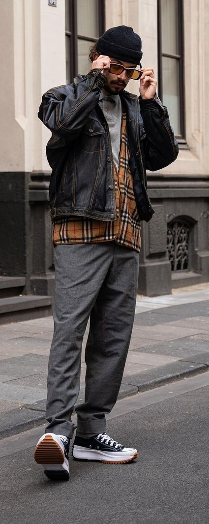 Grey polo layered with plaid sweater and denim jacket