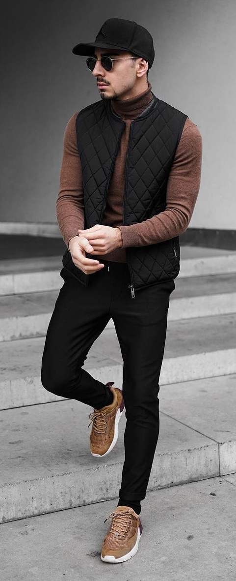 Layer your turtleneck with a cool quilted jacket, cap and sneakers