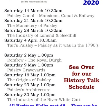 Heritage Walk details March to May 2020