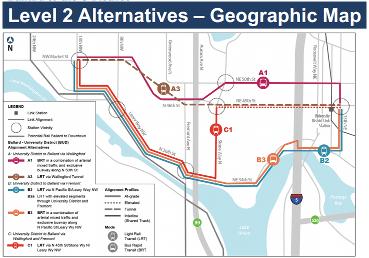Ballard to U-District Alternatives Map