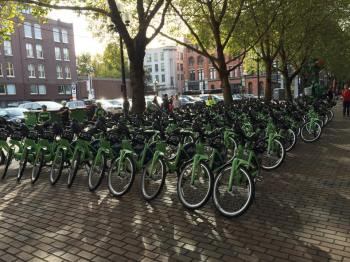 Pronto! bikes in Occidental Park by Charles Cooper.