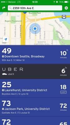 Uber on Transit App