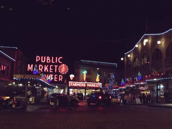 Pike Place Market during the holidays.