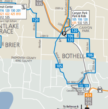 Local network of buses in Bothell. (Community Transit)
