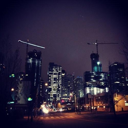 Denny Triangle at night.