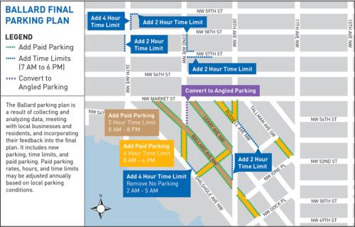 Spring 2015 parking modifications for Central Ballard, courtesy of SDOT.