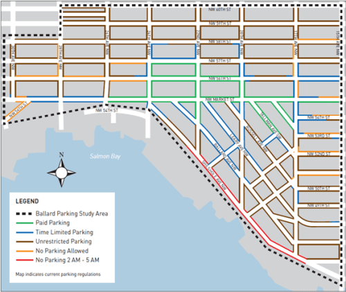 Current parking restrictions in Ballard, courtesy of SDOT.