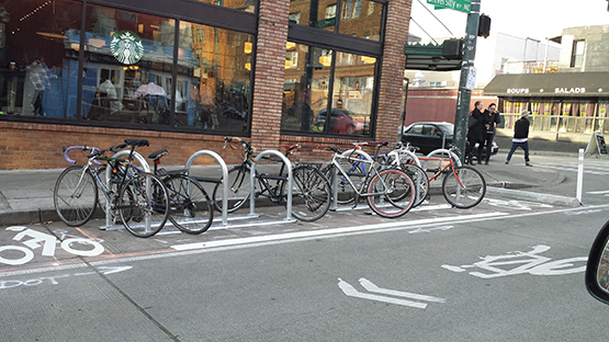 On-street bikerack in the University District, courtesy of SDOT.