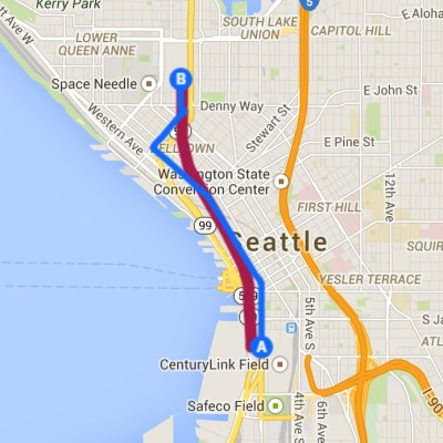 Walking route in blue, Bertha's alignment in red.