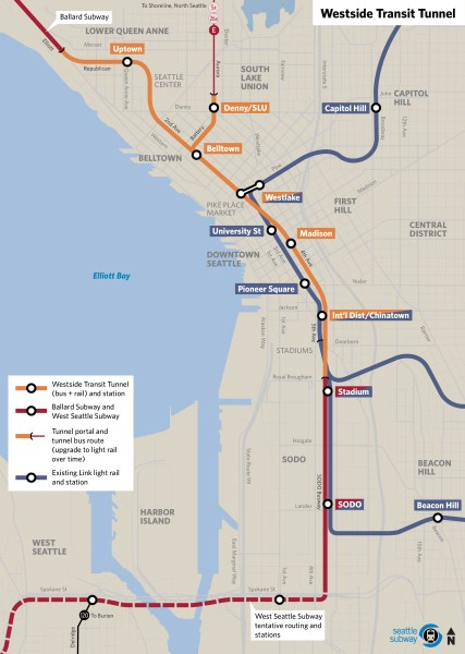 The newly proposed Westside Seattle Transit Tunnel, courtesy of Seattle Subway.