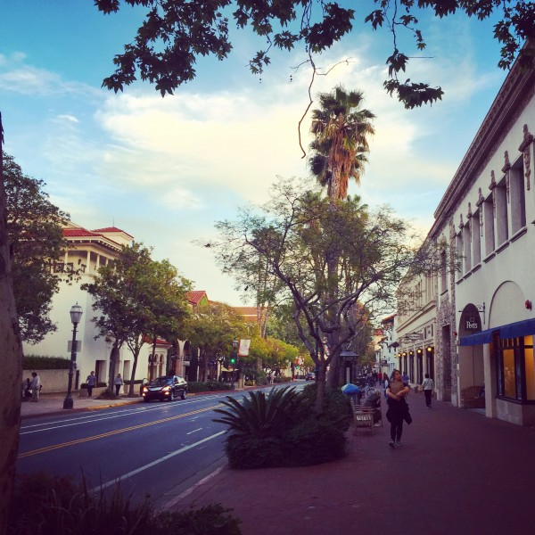 State Street, a pedestrian-oriented boulevard, in Santa Barbara.