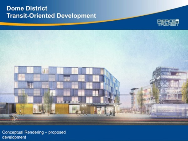 Rendering of the Dome District TOD project, courtesy of Pierce Transit.