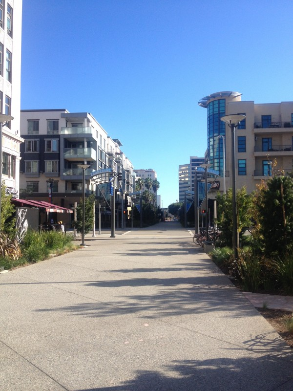 The Promenade flanked by restaurants and housing in Downtown, Long Beach.