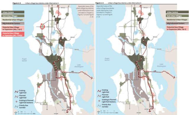 Conceptual urban village boundaries for Alternative 4 and Alternative 3, courtesy of DPD.