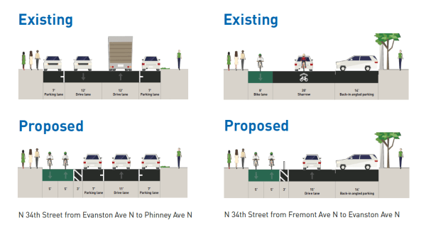 Existing and proposed street layout for N 34th St.