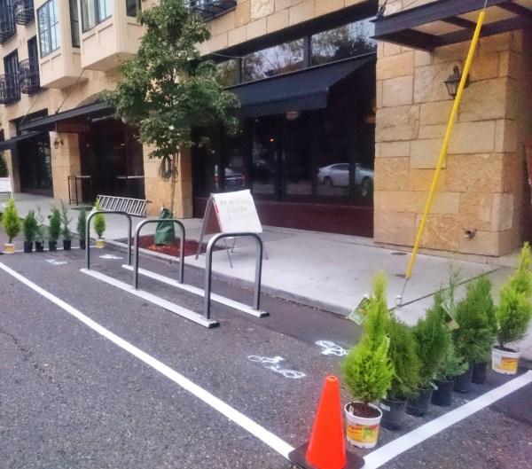 A pop-up bike parking space on Ballard Ave. Photo by Sarah Oberklaid.