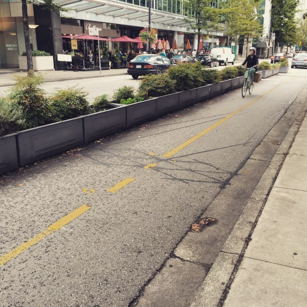 Downtown Vancouver cycletrack.
