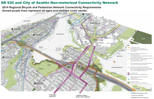 The non-motorized plan as proposed by Seattle Neighborhood Greenways. Image courtesy of Seattle Neighborhood Greenways.
