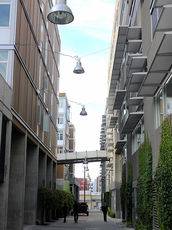 Balconies addressing an alley in South Lake Union, Seattle. Photo by Sarah Oberklaid.