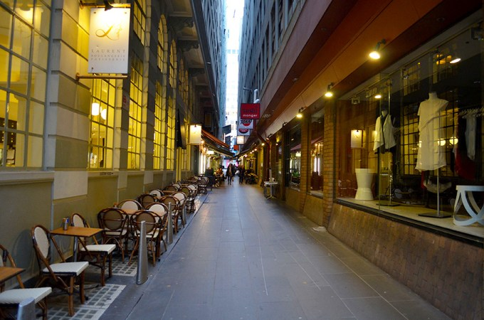 The Causeway, Melbourne, is lined with cafes & boutiques. This photo was taken at 7.30am, showing people feel comfortable walking at different times of day. Photo by Matthew Oberklaid.