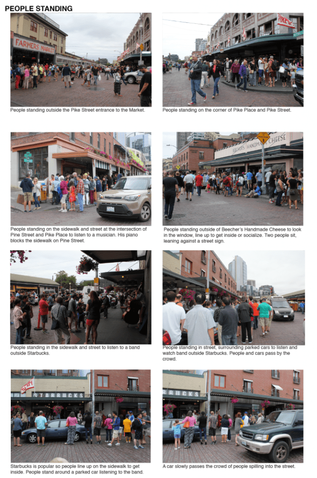 Examples of people standing at Pike Place Market by Sarah Oberklaid.