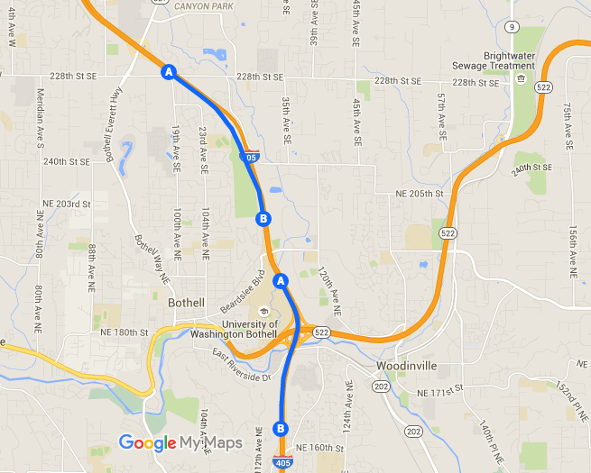 Southbound I-405 shoulders permitted for transit. (Google Maps)