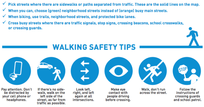 Waking safety tips. (City of Seattle)