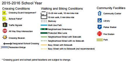 Walking and biking map key. (City of Seattle)