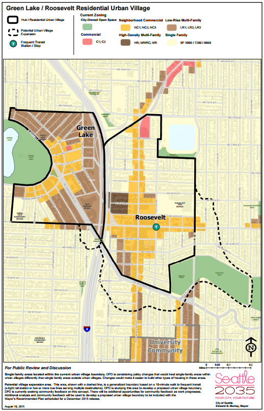 Proposed revised Green Lake / Roosevelt Residential Urban Village. (City of Seattle)