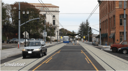 Rendering of Commerce Street near 7th St. (Sound Transit)