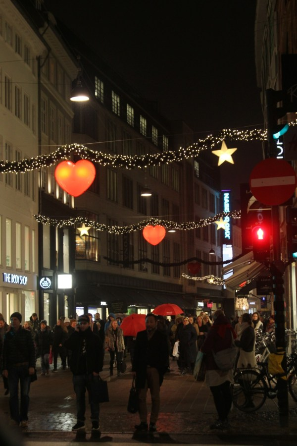 Lights along Strøget, an extremely popular street for walking and biking, which was pedestrianized in 1962. (Photo by Sarah Oberklaid)