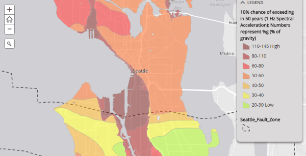 Earthquake fault zone and likelihood of experiencing major earthquake. (City of Seattle)